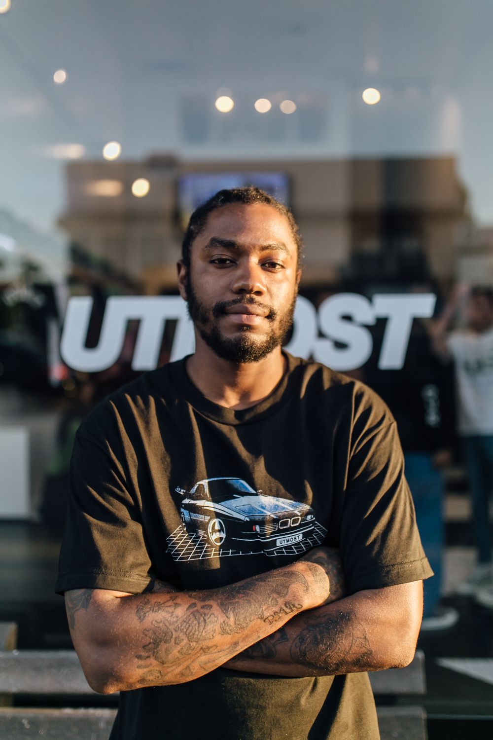 Utmost Co. Co-Founder Jermaine Edwards at the Pop-Up on Melrose Ave (April 1).  / Photo: © Kayla Reefer for SUSPEND Magazine.