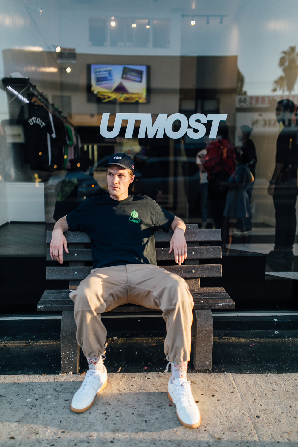Co-founder Tom Hart at the Utmost Co. Pop-Up on Melrose Ave (April 1).  / Photo: © Kayla Reefer for SUSPEND Magazine.