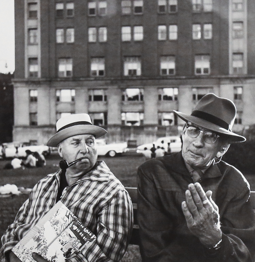 2 Old Men on Bench (Modern gelatin silver print) by  Vivian Maier.