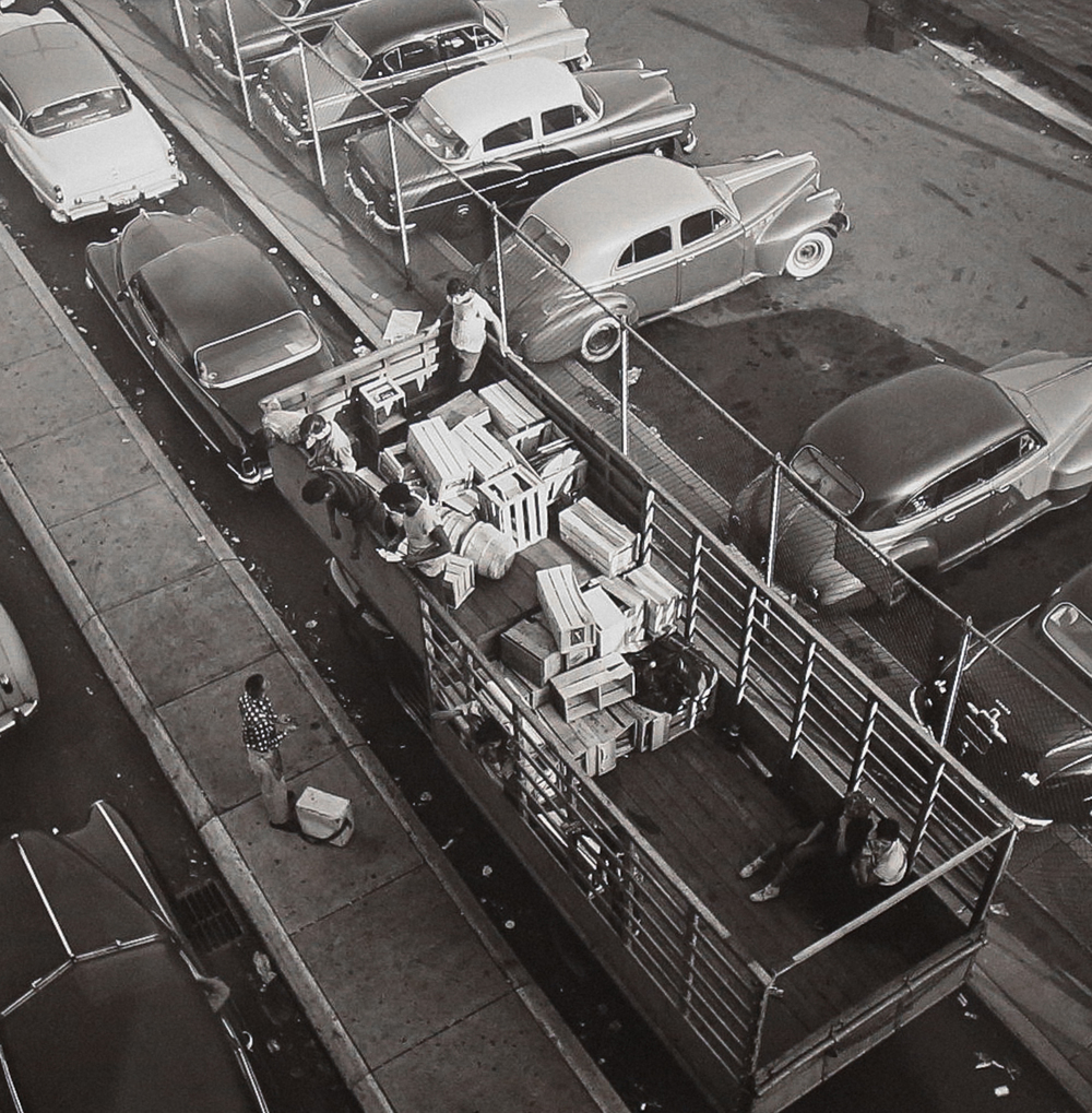 1954, Aerial View of Truck (Modern gelatin silver print) by Vivian Maier.
