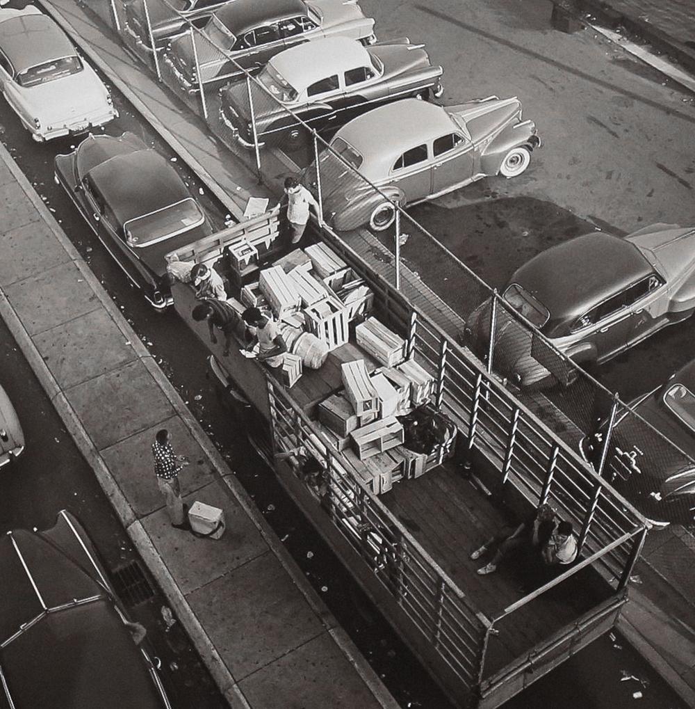 1954, Aerial View of Truck (Modern gelatin silver print) by Vivian Maier.