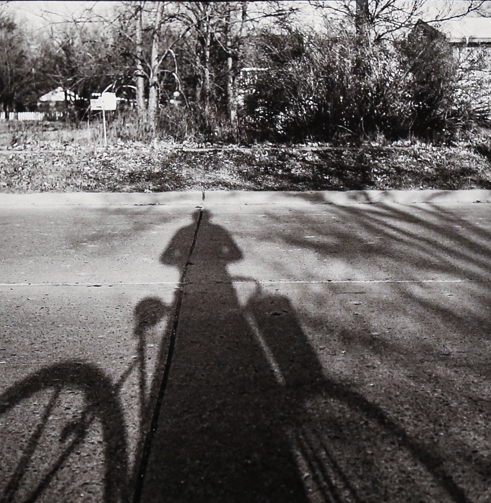 1959, Self-Portrait, Bicycle, Chicago (Modern gelatin silver print) by Vivian Maier.