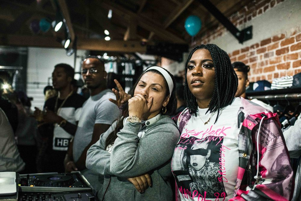 "DJ Carisma and Kamaiyah at the ""A Good Night In The Ghetto"" listening party (April 1). / Photo: © Diane Abapo for SUSPEND Magazine."
