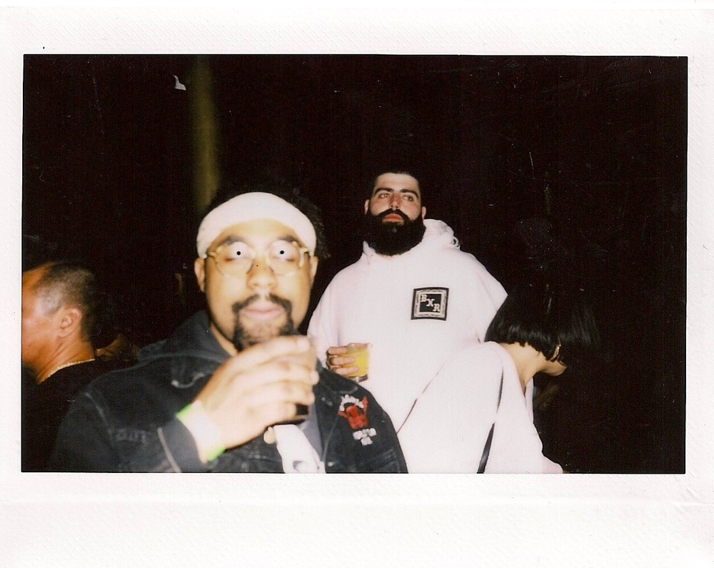 Al B Smoov of Warm Brew and Hugh Augustine / Photo © FriendsOnly™ Club at the SUSPEND ISSUE 06 Release (Feb 11).