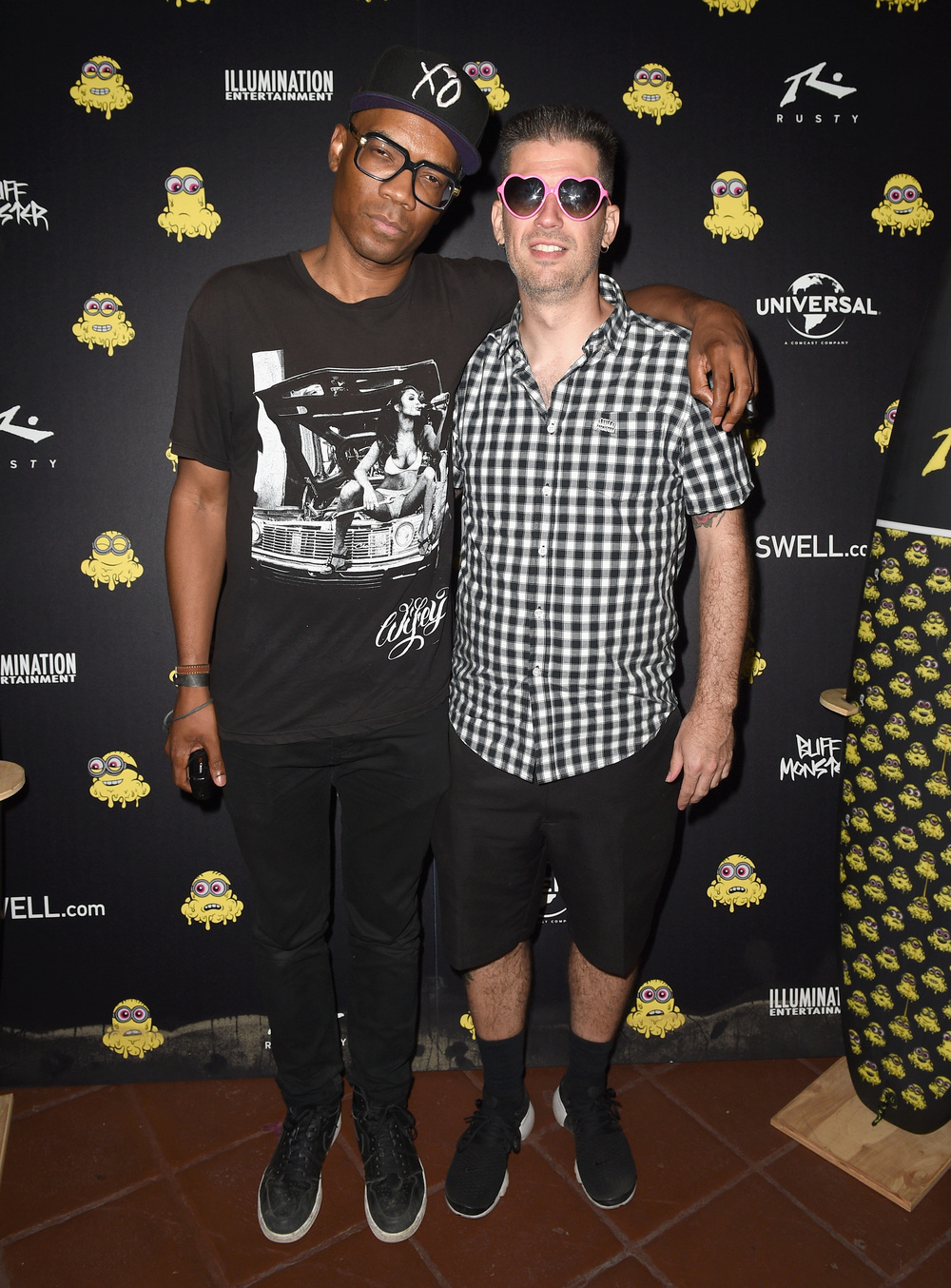 Artists Merlin Bronques and Buff Monster attend Buff Monster x Minions x Rusty Lost in Paradise Capsule Collection launch event on July 28, 2016 in Santa Monica, California.  (Photo by Joshua Blanchard/WireImage)