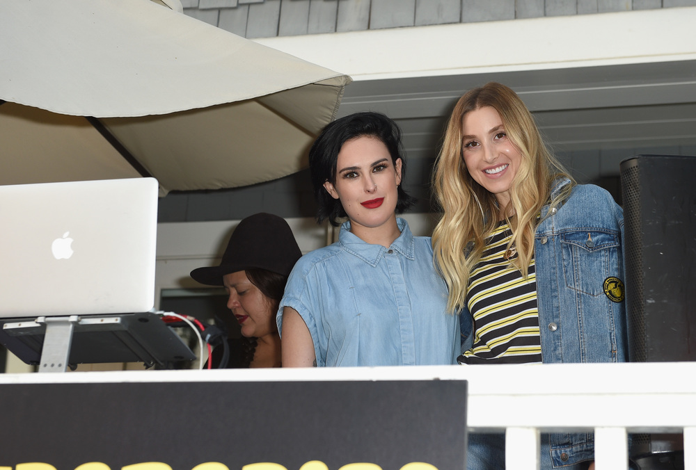 Actress Rumer Willis and Whitney Port attend Buff Monster x Minions x Rusty Lost in Paradise Capsule Collection launch event on July 28, 2016 in Santa Monica, California.  (Photo by Joshua Blanchard/WireImage)
