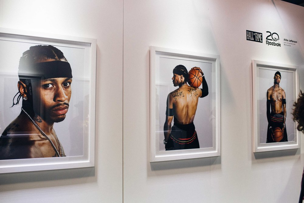 Atiba Jefferson's portrait series of Allen Iverson at the Hall of Fame X Reebok installation at ComplexCon 2016. / Photo: © Diane Abapo for SUSPEND Magazine
