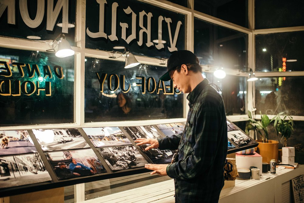 "Ryuta Hironaga's ""Lost in L.A."" skate photo exhibition at Virgil Normal. / Photo: © Diane Abapo for SUSPEND Magazine"