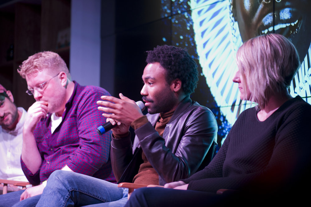 Photo © Nils Erik / (L-R): Fred Warren, Childish Gambino, and Amy Sorakas.