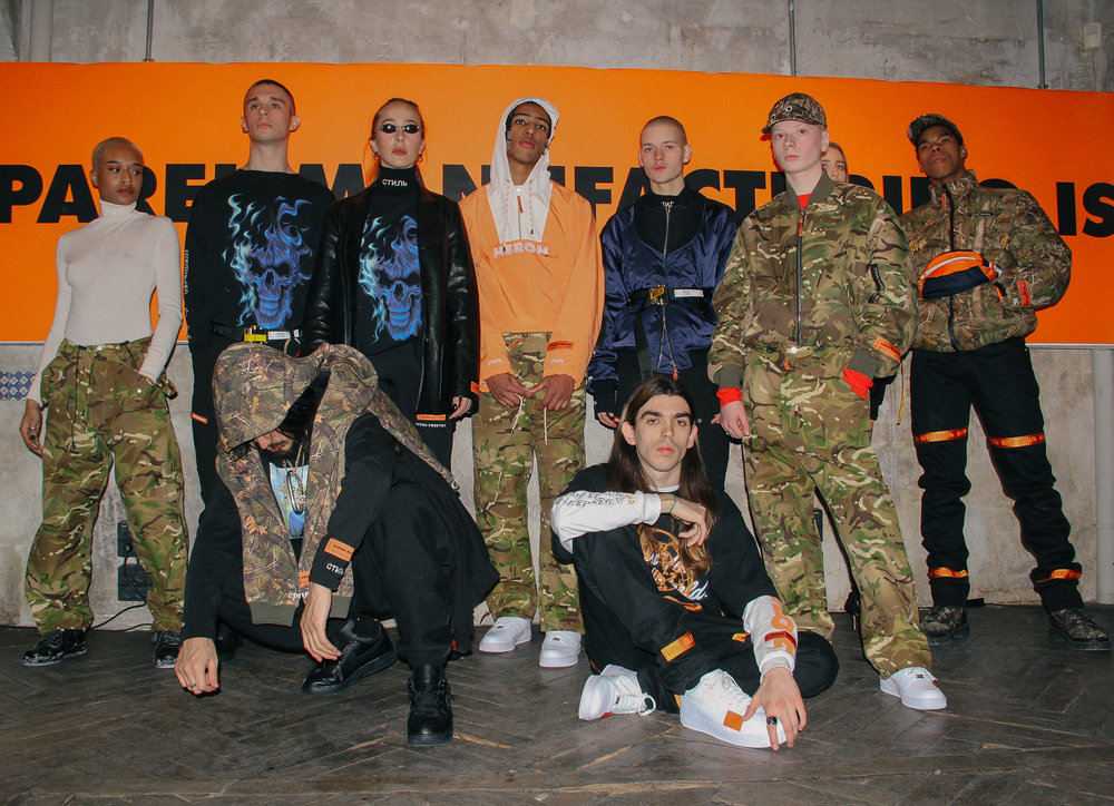 Models at Heron Preston's FOR YOU, THE WORLD presentation during PFW. / Photo: © Angella Choe for SUSPEND Magazine