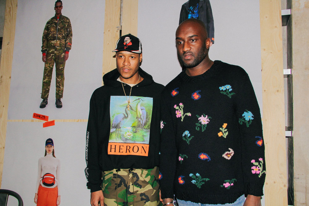 Heron Preston with Virgil Abloh at Preston's FOR YOU, THE WORLD presentation during PFW. / Photo: © Angella Choe for SUSPEND Magazine