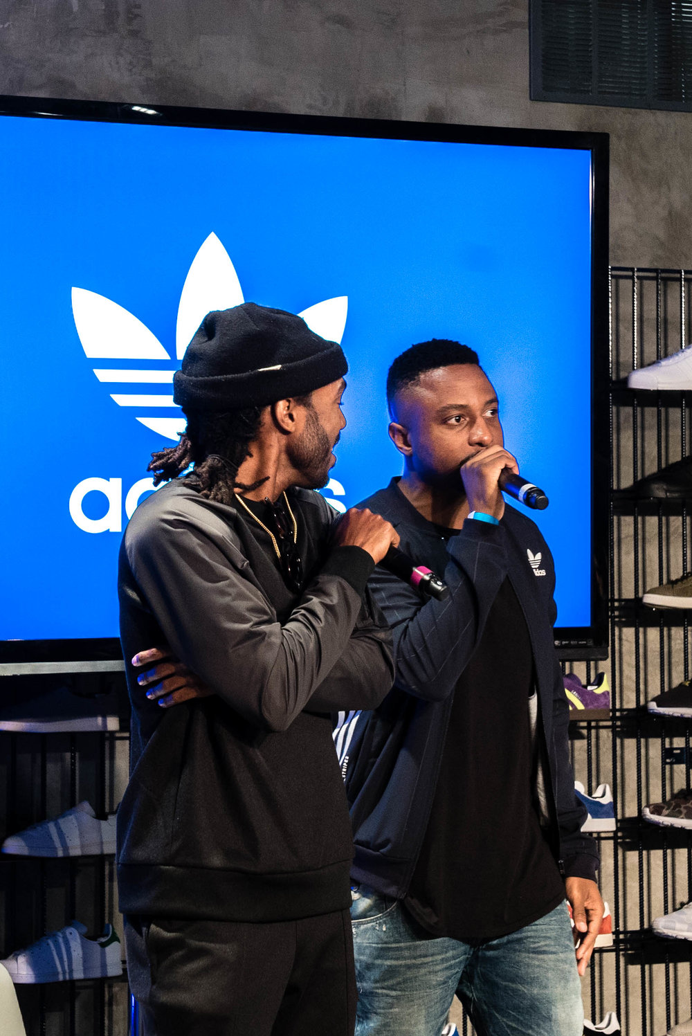 "Host Thurz and Jeron Ward (The Creator's Corner) at SUSPEND Magazine's ""Cultures of LA"" with The Creator's Corner at adidas Melrose (March 16). / Photo © Kenny Vu for SUSPENDMAG.COM"
