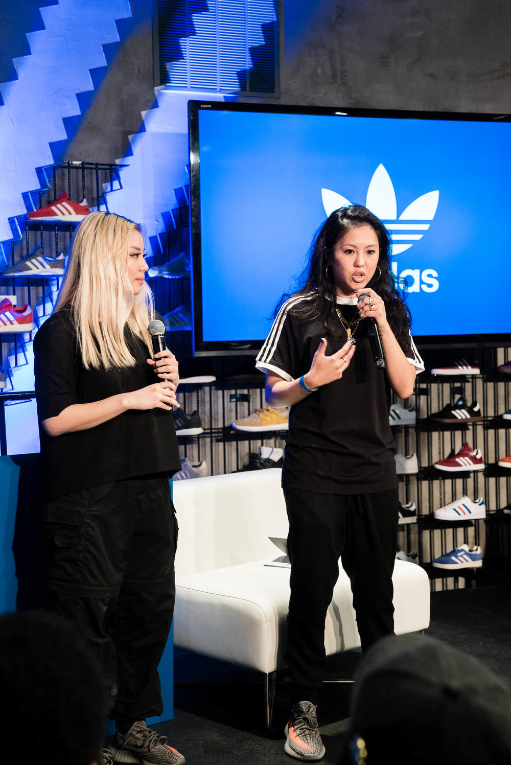 "Contributor Angella Choe and Diane Abapo at SUSPEND Magazine's ""Cultures of LA"" with The Creator's Corner at adidas Melrose (March 16). / Photo © Kenny Vu for SUSPENDMAG.COM"