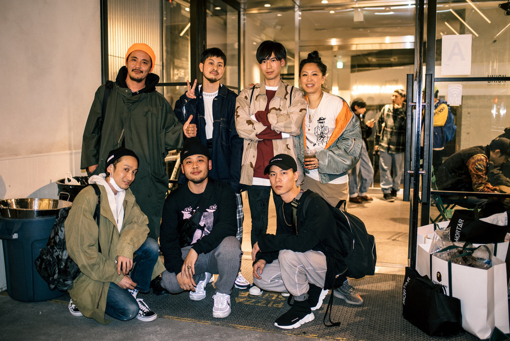 """Across the Street"" SUSPEND Magazine photo show (April 5) at Pizza Slice 2 in Tokyo. Pictured: Monkey Time crew. / Photo © SUSPENDMAG.COM"
