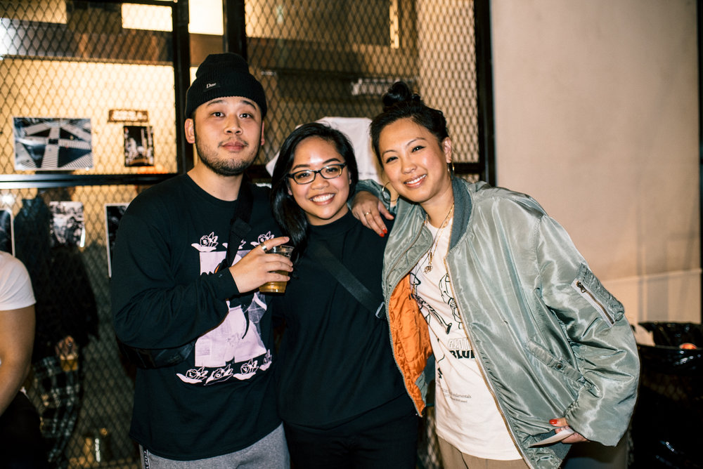 "Randy Nakajima, Mykka Claveria and Diane at ""Across the Street"" SUSPEND Magazine photo show (April 5) at Pizza Slice 2 in Tokyo. / Photo © SUSPENDMAG.COM"