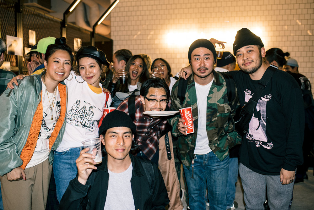 "With the Mortar Tokyo team at ""Across the Street"" SUSPEND Magazine photo show (April 5) at Pizza Slice 2 in Tokyo. / Photo © SUSPENDMAG.COM"