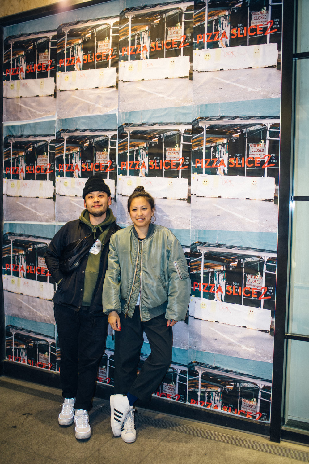 "Diane and Randy outside of ""Across the Street"" SUSPEND Magazine photo show (April 5) at Pizza Slice 2 in Tokyo. / Photo © SUSPENDMAG.COM"