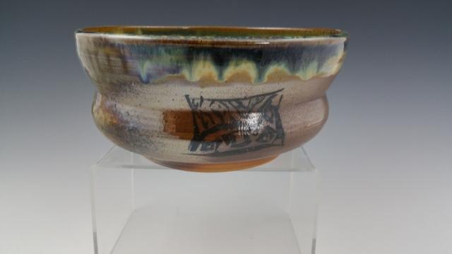 Wood Fired Temoku Zentangle  Altered Bowl