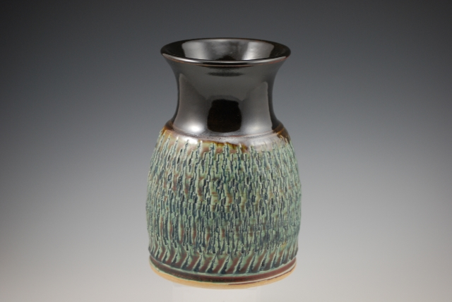 s Blue/Temoku Etched Vase