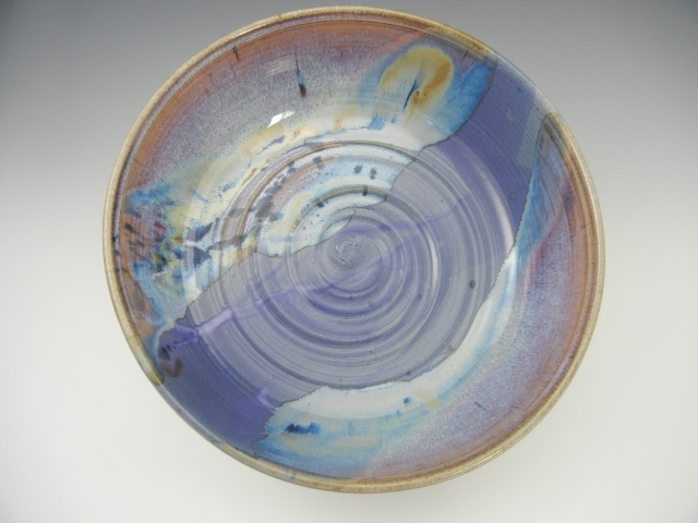 Lupine/Orange Rutile/Temoku Plate with oxides