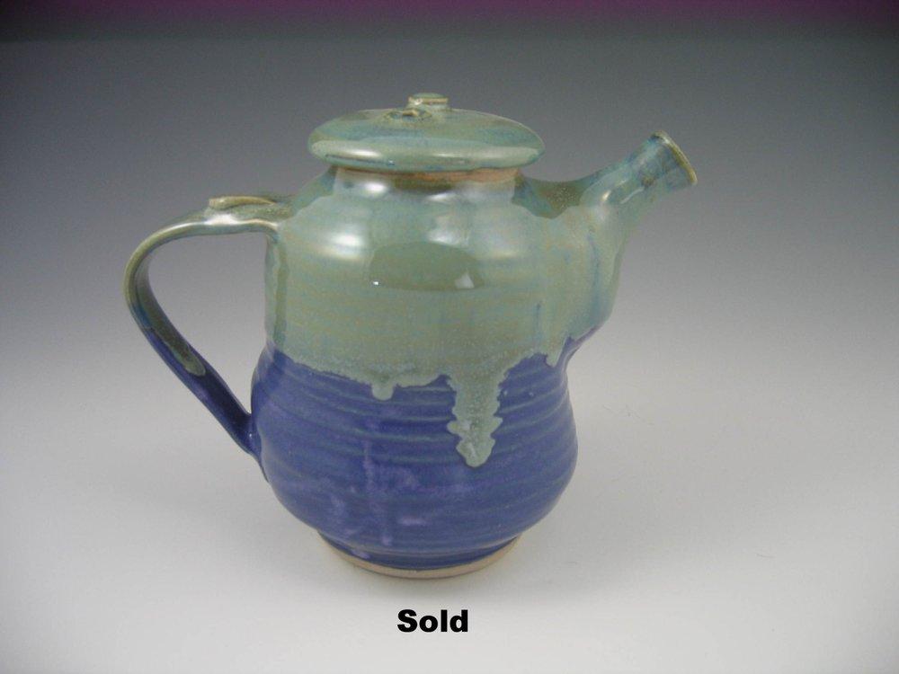 Sage/Blue Teapot
