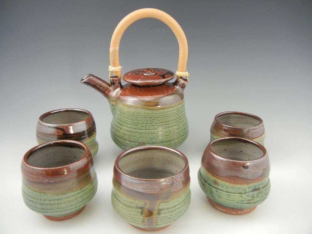 Val's Blue/Temoku Teapot Set of 6
