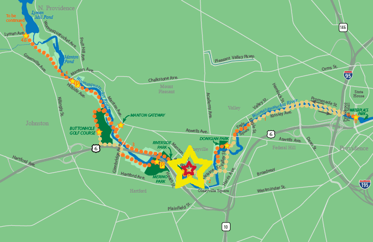 A map of the River Greenway, the star marks our location