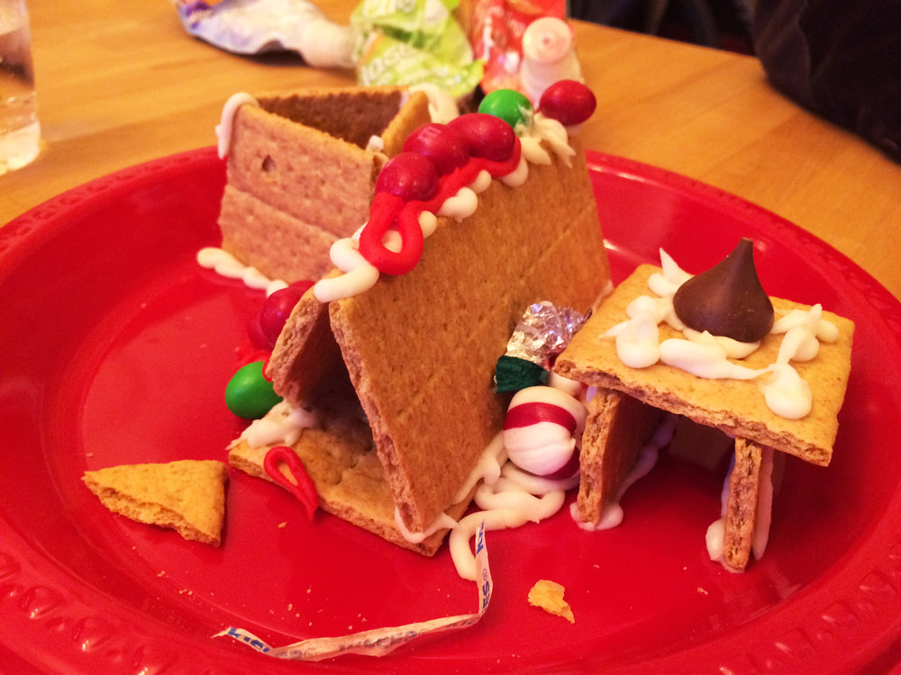 Celia, age 4, created this post modern ginger bread house