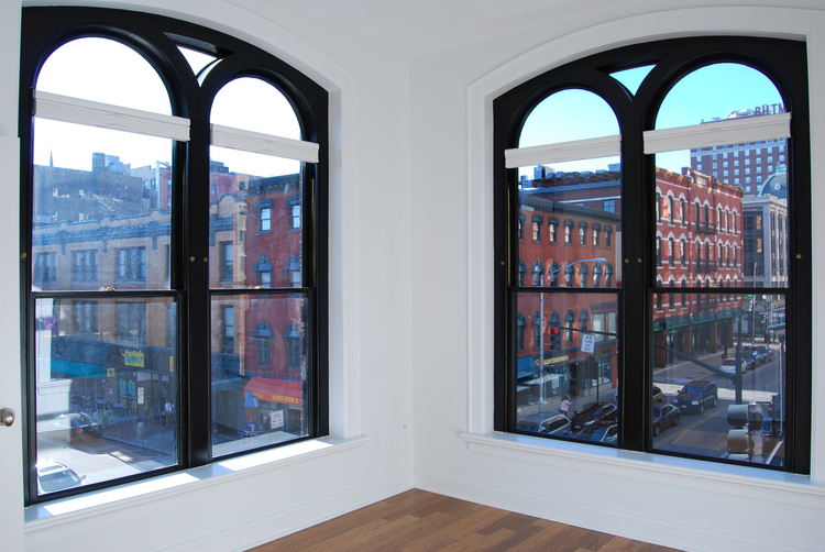 Inside the Teste Building residence, looking out onto down town Providence