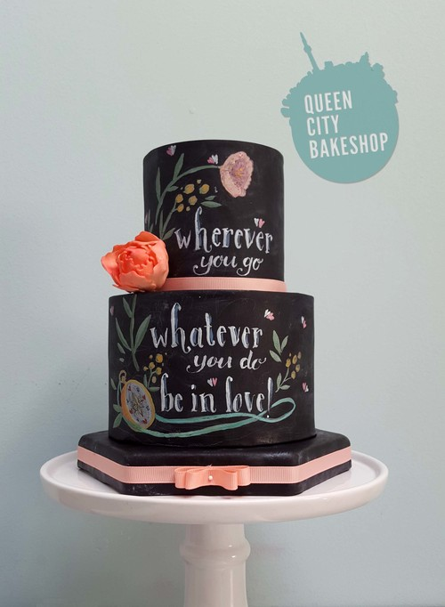 Chalk Art Wedding Cake With Words To Live By
