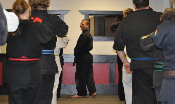 A pic from back in my days working for my former company. You can tell by the expression on my face that I felt at home amongst my students. It was very difficult to have to part. Old Town was a legendary dojo. If you ever studied with us in that room, you know that to be a true statement.