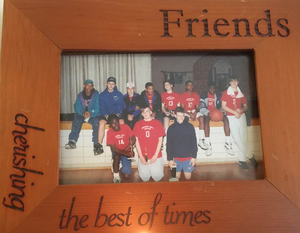 Probably taken in 7th or 8th grade, George is #14 and I am wearing the hoodie in the front. In between us is Nick Hellie, my childhood best friend. Nick passed away in 1998 shortly after we graduated high school. Both George and myself gave eulogies at his funeral.