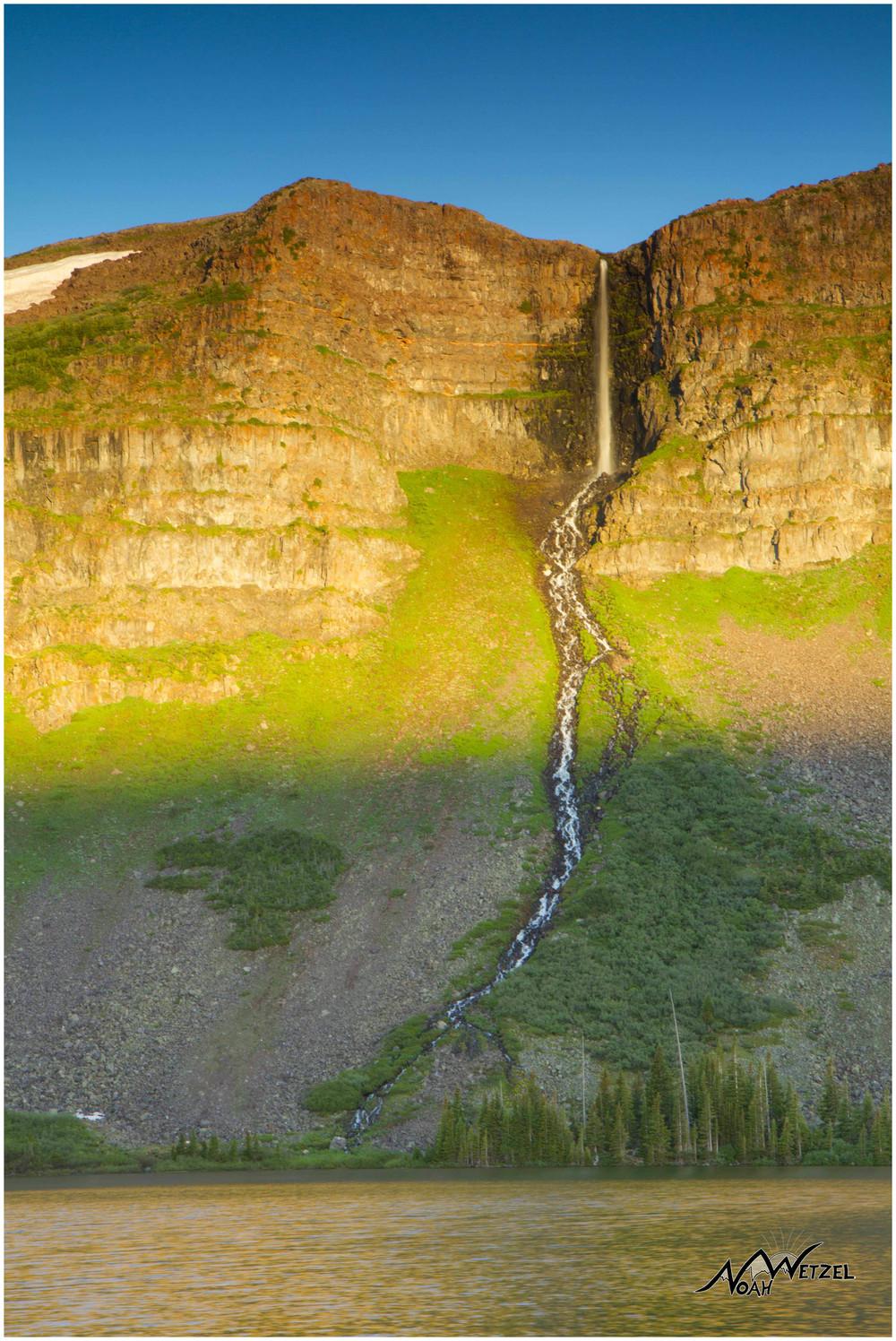 The beautiful 200ft Keener Falls. Keener Lake, Flat Tops WIlderness, CO