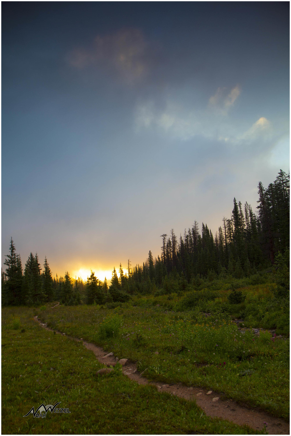 Sunrise on the trail. Rawah Wilderness, CO