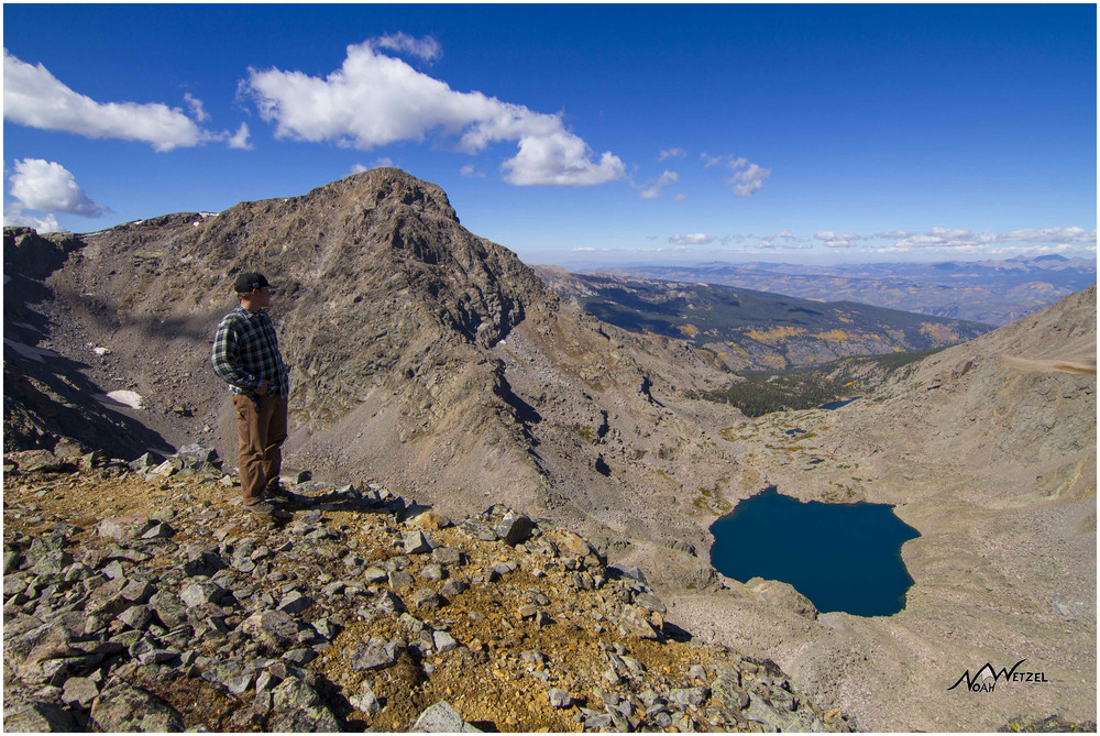 Ben overlooking Mount of the Holy Cross and Bowl of Tears.