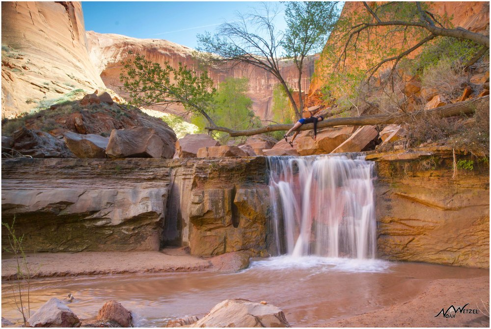 Kelsey kicken back @ the Waterfall Oasis in Coyote Gulch. Escalante, Utah