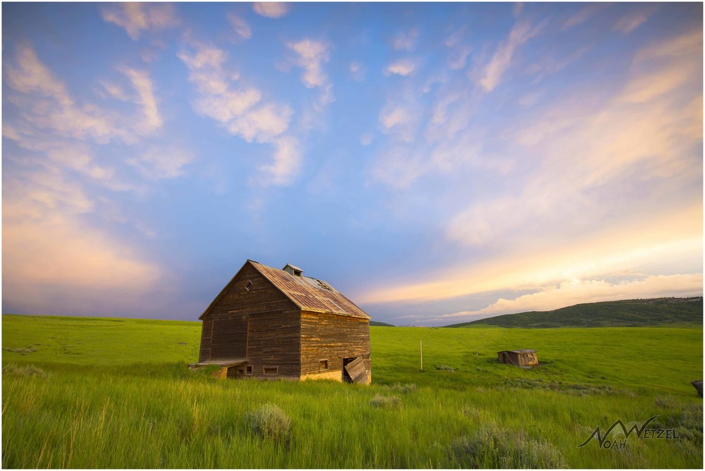 Barn Sunset on 20 Mile Rd. outside Steamboat Springs, Colorado. June 16th