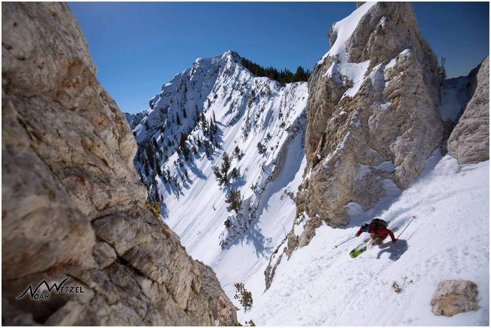 PORTFOLIO   IMAGE   5  of  9   CHRIS BRULE skiing a tight disappearing chute on Fantasy Ridge @ Solitude Mountain Resort, Utah.