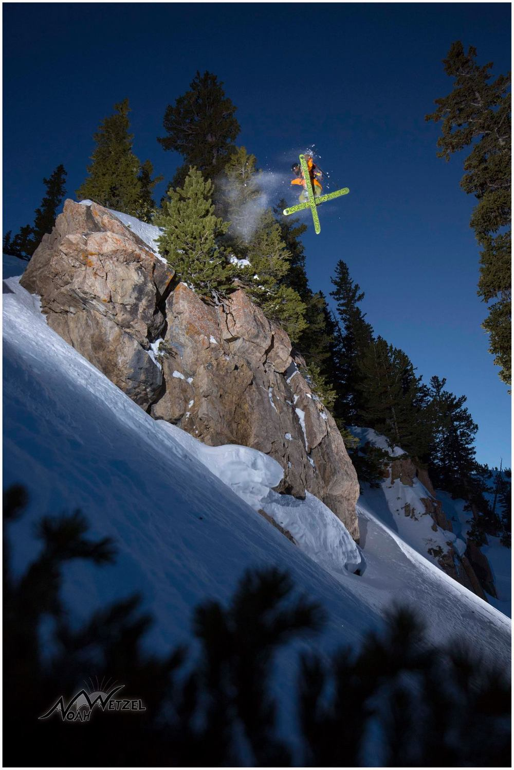 PORTFOLIO   IMAGE    8  of  9  WILLIE NELSON airing it out with a leading 360 Tail Grab in the Alta Ski Resort side country!