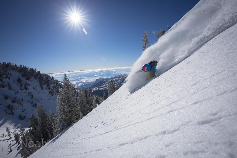 Lucy Sackbauer enjoying some fresh snow in the Brighton Resort Sidecountry, Utah. Day 1