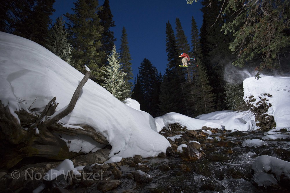 Chris Brule airing out a shifty over the creek gap. Snowbird Resort, Utah. Day 2.