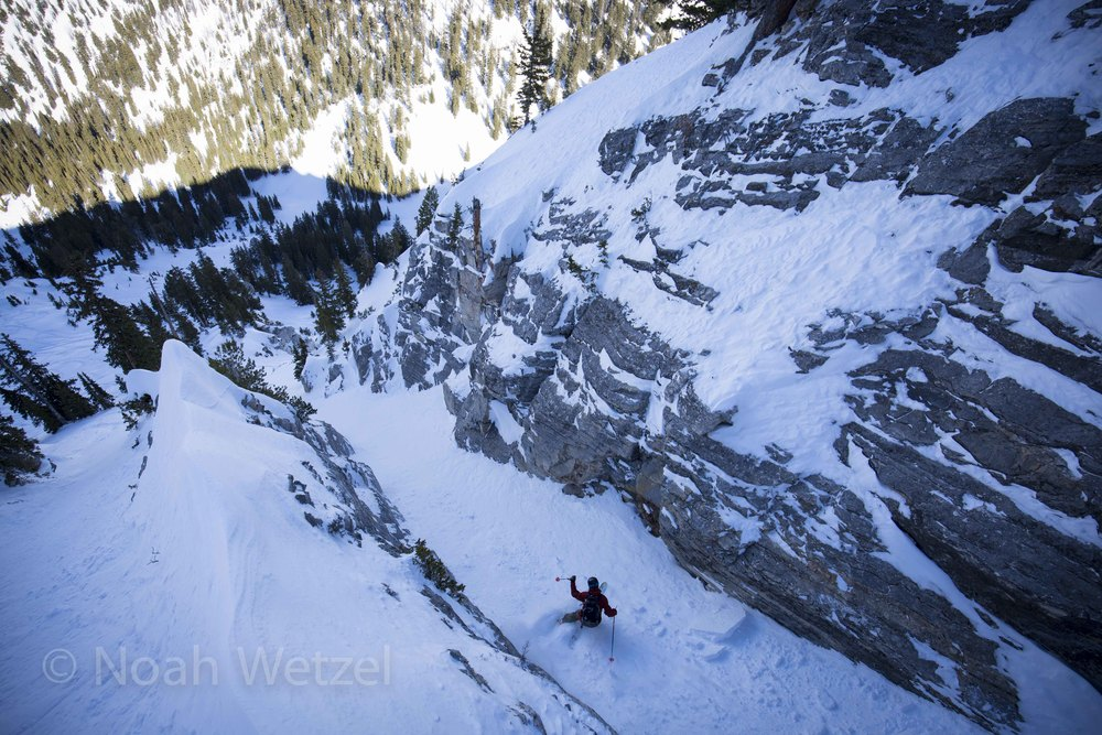 Chris Brule skiing a tight chute on Fantasy Ridge at Solitude Mountain Resort, Utah. Day 3