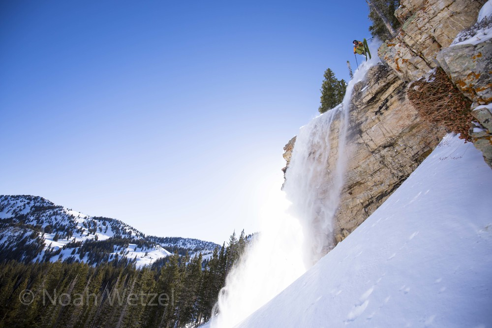 Willie Nelson airing out a shifty on a massive cliff with a firm landing at Alta Ski Resort, Utah. Day 4