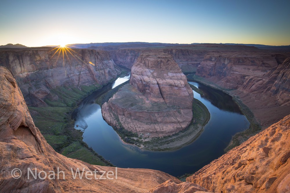 Sunset at Horseshoe Bend outside Page, Arizona