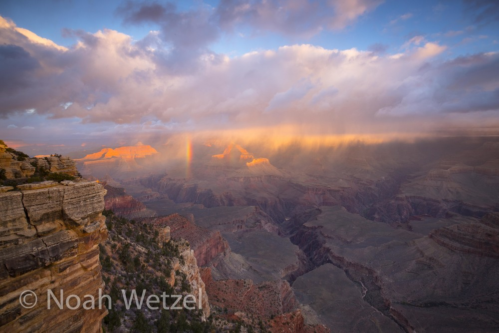 Double Rainbow Sunrise in Grand Canyon National Park, Arizona.