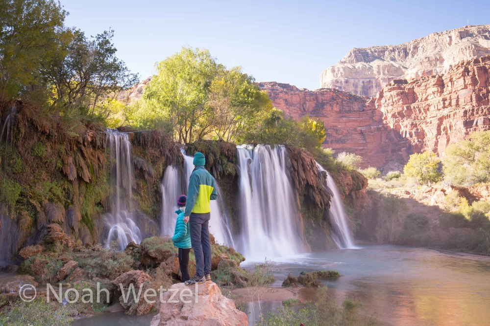 Jerome and Rachel overlooking Hidden Falls. Supai, Arizona