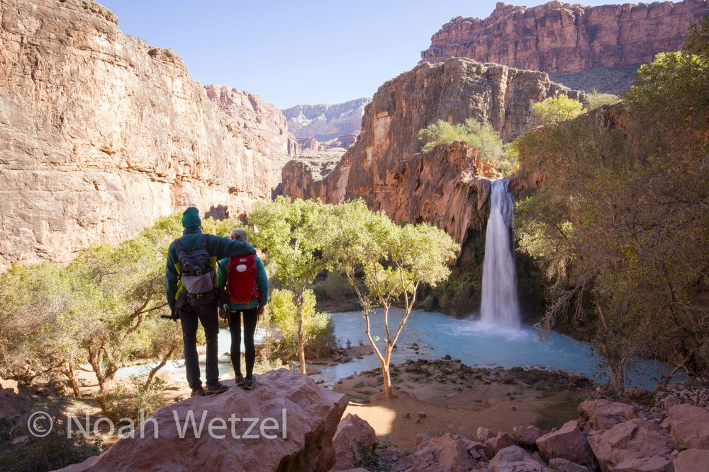 Jerome and Rachel overlooking Havasu Falls in Supai, Arizona
