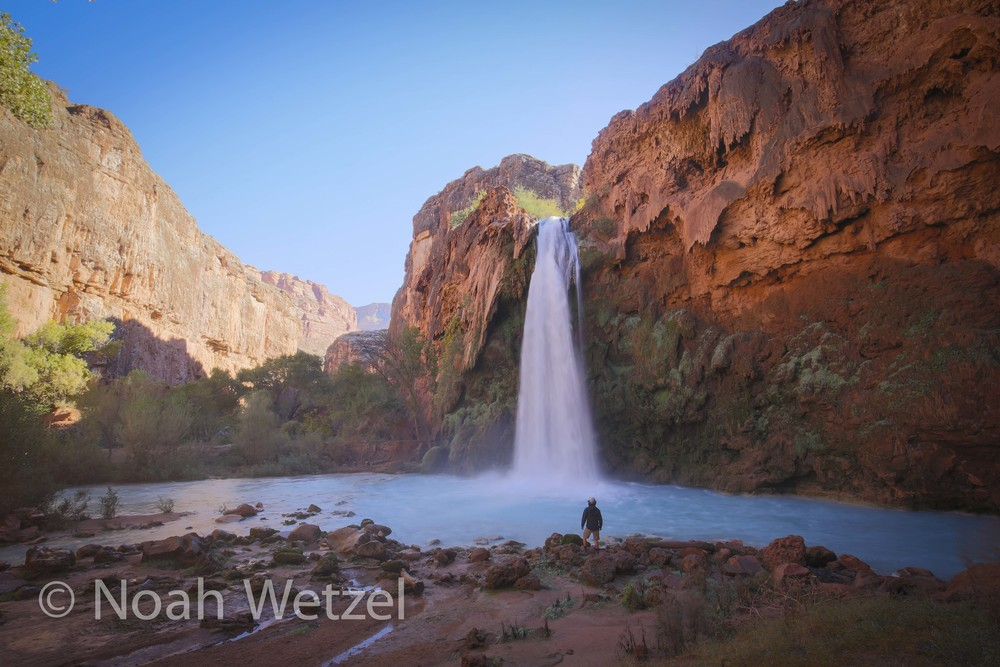 Self Portrait. Sunrise at Havasu Falls. Supai, Arizona