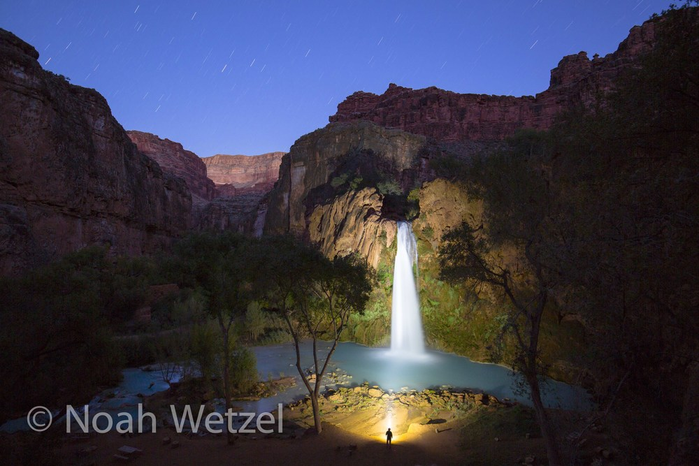 Hanging out under the stars at Havasu Falls in Supai, Arizona
