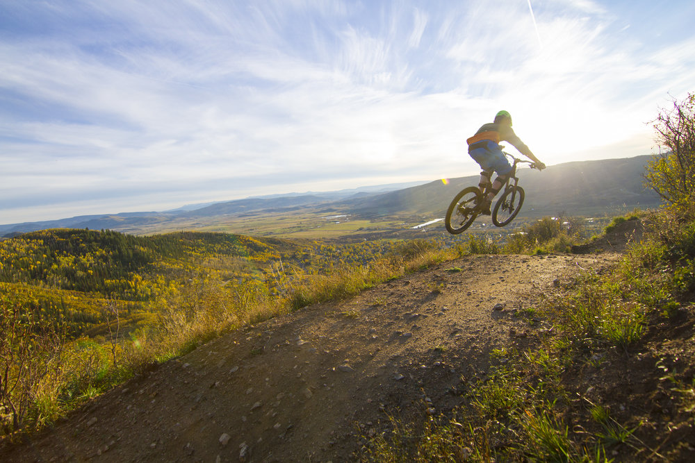 Rustlers Ridge Trail @ Steamboat Resort: Aryeh Copa airing it out on Rustler's Ridge Trail with scenic views of the Yampa Valley.